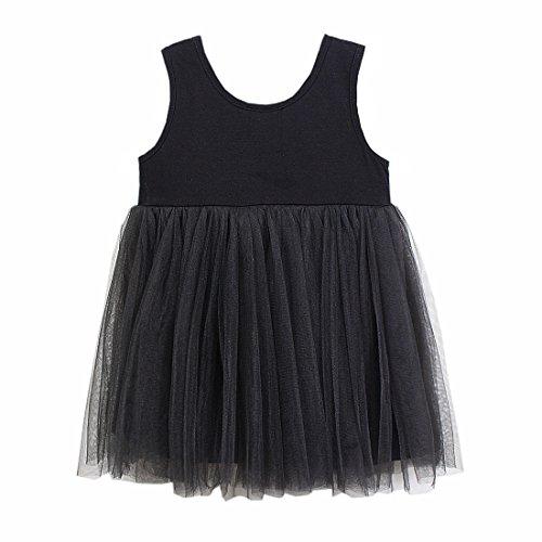 Baby Girls Black Dress Tutu Sundress Tulle Skirt Cotton 4 Colors (6-9 Monate, Schwarz) (Black Kids Tutu)