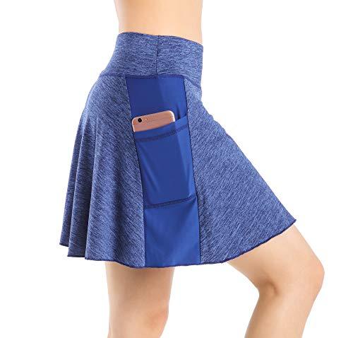 Nidalee Damen Tennis Golf Skort Active Athletic Sport Laufrock mit Tasche - blau - X-Klein