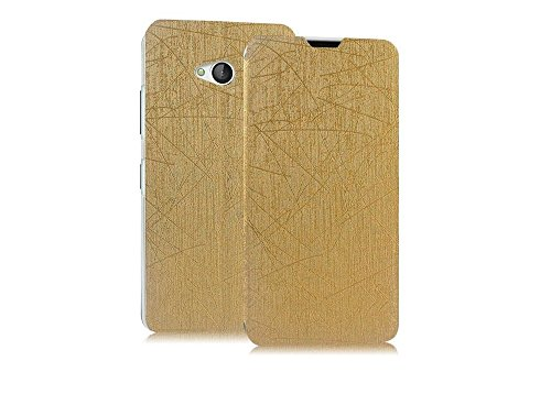 Heartly Premium Luxury PU Leather Flip Stand Back Case Cover For Microsoft Lumia 640 Dual Sim – Hot Gold