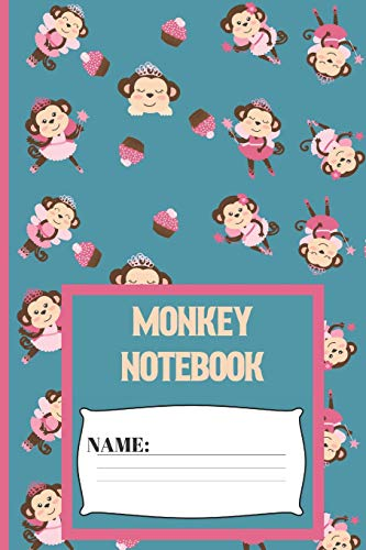 Monkey Notebook: Small funny composition notebook 120 pages  (6 x 9 Inch). Cup Cake Monkey Blank lined notebook for monkey lovers