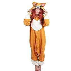 DJHbuy Adult Kigurumi Cosplay Costume Pajamas Pyjamas Fleece Sleepwear Unisex Onesies Corgi Dog