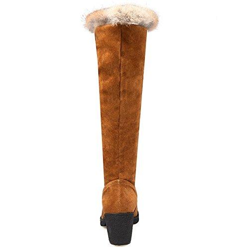 COOLCEPT Damen Mode Artificial Wildleder Mid Absatz Schnee Stiefel Lacing lange Stiefel Mit Faux Fell Braun