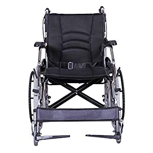 ACEDA Transport Wheelchair With Lightweight Thick Steel Frame,12.5Kg Folding Chair Is Portable,Front And Rear Brake,Seat Width 43Cm,Foot Pedal 3 Height Adjustable,Black