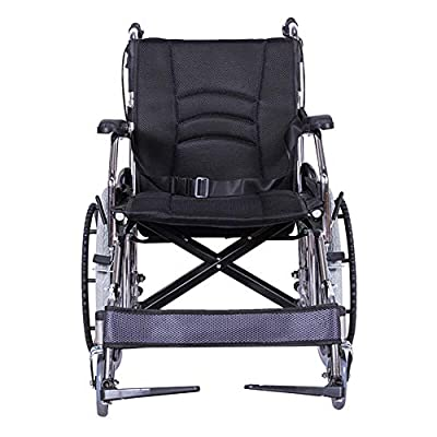 ACEDA Transport Wheelchair With Lightweight Thick Steel Frame,12.5Kg Folding Chair Is Portable,Front And Rear Brake,Seat Width 43Cm,Foot Pedal 3 Height Adjustable