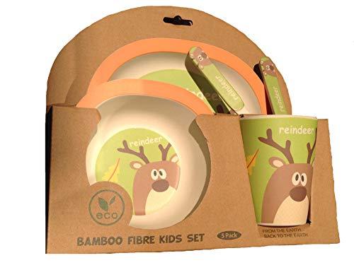 Vajilla infantil bambú bebé niño niña conjunto FIMBOO platos vaso y cubiertos bamboo apto lavavajillas set servicio mesa Material ecológico sin BPA regalo recien nacido primera postura. (RENO)