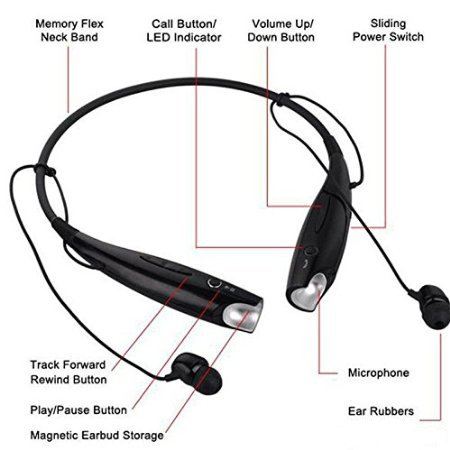 Karbonn K84 Compatible Universal Bluetooth Headset with Detachable earpiece - Black  available at amazon for Rs.699