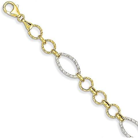 14K oro bicolore rotondo e ovale link Bracciale