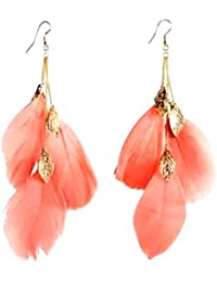 Floret Jewellery Trendy Orange Feather Earrings With Gold Plated Leaves For Women & Girls