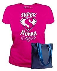 Idea Regalo - IDEAMAGLIETTA NON0011 Maglietta Super Nonna T-Shirt Festa della Mamma Idea Regalo (XL, Fuxia)