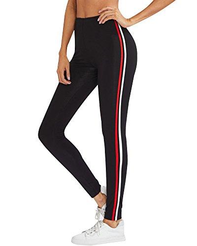 (Minetom Damen Sommer Elegant Elastizität Hose Gestreift Leggings Hohe Taille Pants Casual Mode Slim Sporthose Rot EU Small)