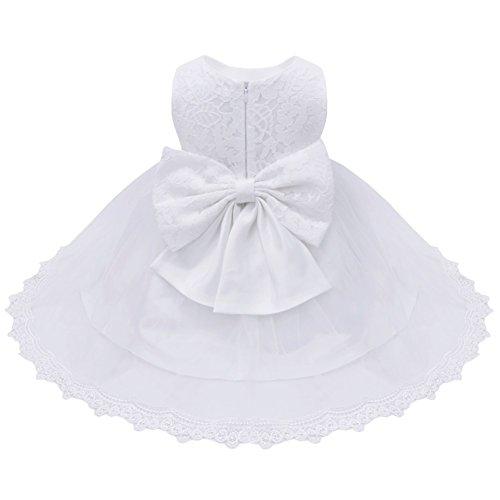 iiniim Bébé Fille Lace Robe de Mariage soirée Dentelle Tulle Florale Noeud Papillon Robes Princesse Baptême 3-24 Mois Blanc 18-24 Mois