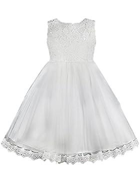 SMITHROAD Kinder Prinzessin Blumenmädchen Festliches Spitze Kleid Tüllrock mit Großer Schleife Blumenmuster Ärmellos