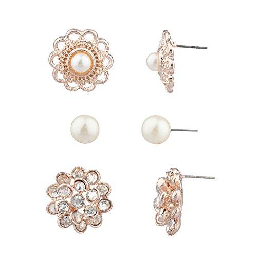Lux accessori cristallo fiore floreale elegante più orecchini con perla di Faux