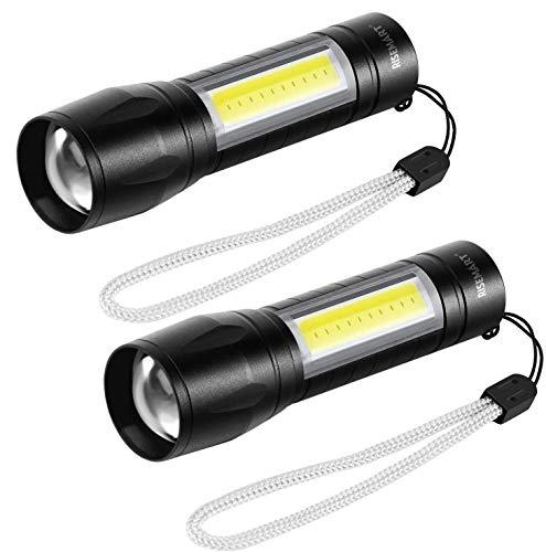 Taschenlampe Kleine LED USB Aufladbar Zoombar COB Arbeitsleuchte, Outdoor Taschenlampen, 3 Modi für Kinder Geschenk, Angeln, Wandern und Camping (2 Stück)