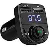 SHOPLINE X8 Dual USB Car Charger Hands-Free Wireless Bluetooth FM Transmitter & Music Adapter, 2.0A & 1.0A Dual USB Port LCD MP3 Player Which Supports TF Card And U Disk