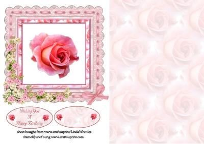 Rosa con cornice floreale by Linda Whittles