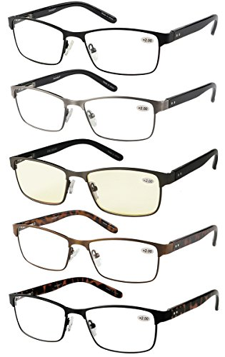 ffdb271659e Amcedar 5-Pack Metal Frame Reading Glasses Men Stainless Steel ...