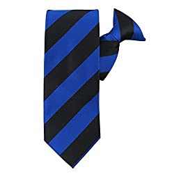 Absolute Stores Mens Royal & Black Polyester School Color Clip On Ties