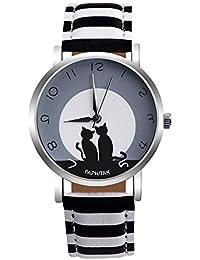 DressLksnf Reloj Lujo Moda de Mujer Pulsera Deportiva Acero Inoxidable Durable Correa de Cuero Digital Clásico