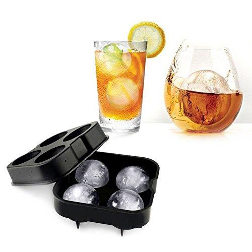 ULTRICS Stampo Ghiaccio Sfera, 4 Turno, Premium BPA Gratuito, Silicone Ice Ball Creatore Crea Cubetti Ghiacciato Perfetto per Whisky, Highball, Cocktail Occhiali Liquorosi Qualsiasi Bevande