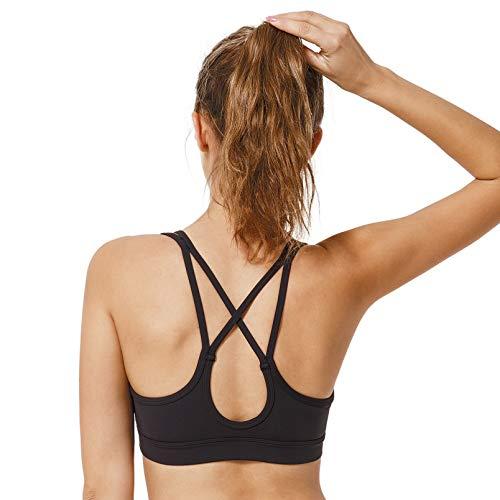 Schwimmen, Bekleidung (Yvette Damen Mitteler Halt Sport BH Gekreuzt Rücken Dünne Träger Bustier Für Yoga, Pilates, Schwimmen, Schwarz, S(A-C))