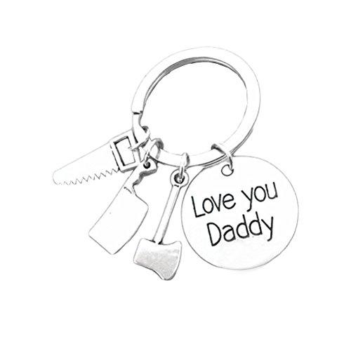 OUNONA Regalo del día del padre Llavero para el papá Llavero Clips del anillo Llavero Llavero Titular de la clave para el auto Organización de llaves en el hogar (Mini herramientas de reparación Colgante) (Love daddy2)