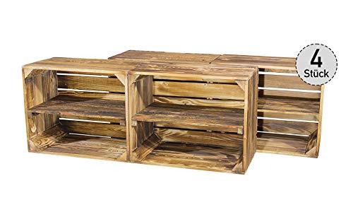 4er Set geflammte Kiste für Schuh- und Bücherregal - neue Obstkisten Holzkisten Apfelkisten Weinkisten Dekokisten mit Zwischenbrett - schönes Obstkistenregal mit flammbierter Optik 50x40x30cm