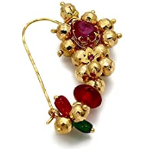 Meenaz Jewellery Traditional Maharashtrian Nath Nose Rings Ruby Gold Pearl Bead Nath Nose Ring for Wedding Women Girl- Nose Ring-111
