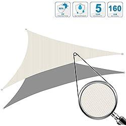 Cool Area Toldo Vela de Sombra triángulo 4 x 4 x 4 Metros protección UV Impermeable, Color Crema