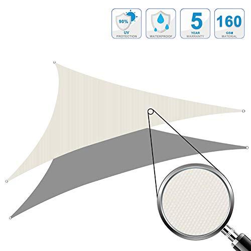 Cool area tenda a vela impermeabile triangolare 4 x 4 x 4 metri protezione raggi uv, crema