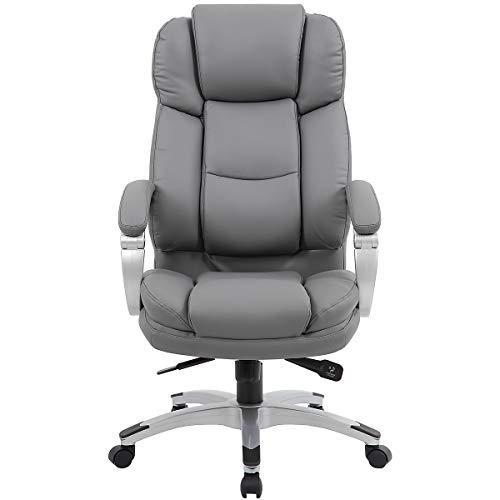 Chefsessel mit Lederbezug Aston, grau - Chefsessel mit hoher Rückenlehne - Schreibtischstuhl mit italienischem Design