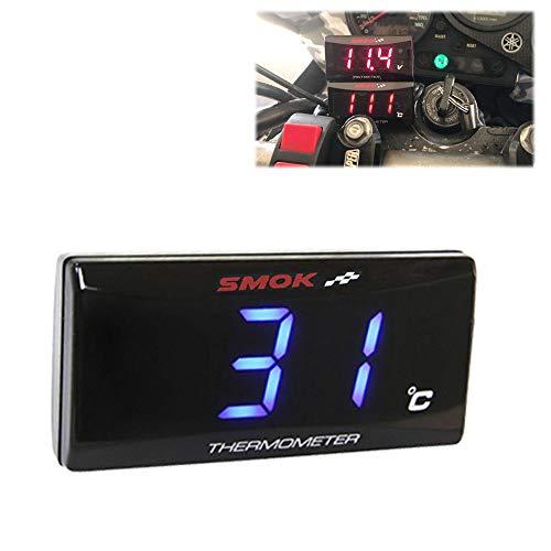 CHUDAN Universal Motorrad Instrumente Thermometer Wassertemperatur Digitalanzeige Manometer für Yamaha Xmax 125 250 300,Blue