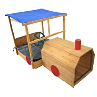 Garden Games Choo Choo Wooden Train Sandpit with Canopy Shade Roof, Sandbox with Cover, Bench Seats and Toy Storage