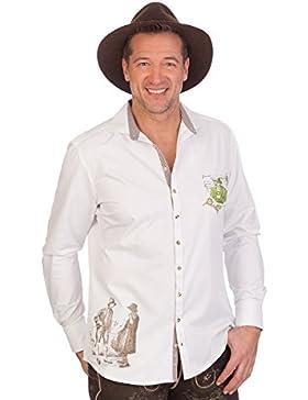 H1642 - Trachtenhemd mit langem Arm - weiß