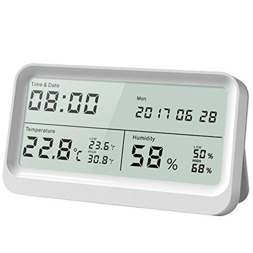 AngLink Thermo-Hygrometer, 16:9 LCD Breitbild Monitor Thermo-Hygrometer mit Uhr Hygrometer Digital mit Magneten und Klappständer, mit Datum und Uhrzeit