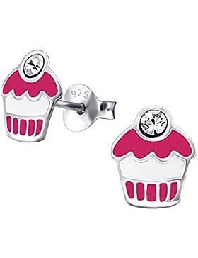 Ein Paar Kleine Pinke und Weisse Cupcake Ohrstecker aus Sterling Silber mit Kristalledelstein (Edelsteine sind...