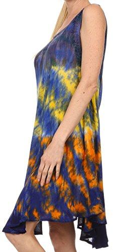 Sakkas Nora ärmelloses gesticktes Kurz bind Farbstoff Kaftan Kleid / Abdedckung Blau