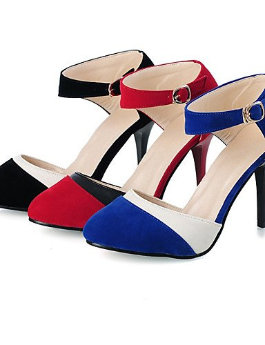 WSS 2016 Chaussures Femme-Bureau & Travail / Habillé / Décontracté-Noir / Bleu / Rouge-Talon Aiguille-Talons-Talons-Velours / Similicuir red-us4-4.5 / eu34 / uk2-2.5 / cn33