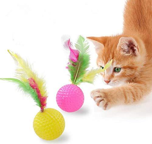 Frmarche Katzenspielzeug, Golfball, Feder, bunt, Kauen, Beißen, Lernspielzeug, interaktives Produkt, 3 Stück (zufällige Farbe) -