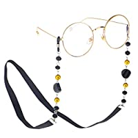 MOCOFO Eyeglass Chains for Women Beaded Reading Glasses Cords Sunglasses Holder Strap Lanyards Eyewear Retainer Acrylic (Black)