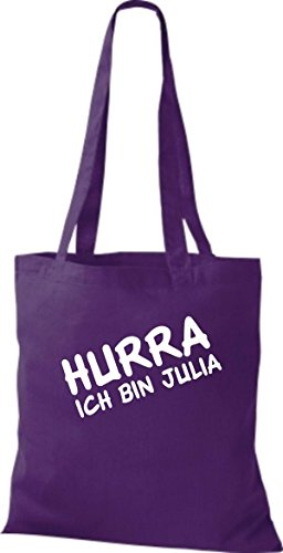 Shirtstown Stoffbeutel JGA Hurra ich bin ... viele Farben lila