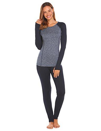 Caeasar Damen Thermo Unterwäsche Set schlafanzug Skiunterwäsche Funktionsunterwäsche Extrem Warm Thermische für Winter (XXL/42, Typ_1 Dunkelblau)