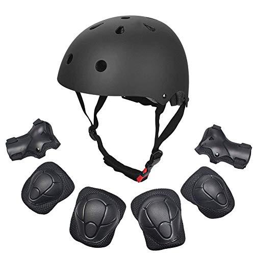 Comtervi Skateboard Helmet Kids,7 in 1 Set di protezioni per bambini con ginocchiere, gomitiere e protezioni per i polsi, protezioni per casco da skate per bambini (1)