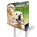banjado - Ihr eigenes Foto auf einem Standbriefkasten Motivbriefkasten mit Burg-Wächter Standfuss mit Ihrem Wunschmotiv