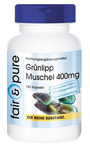Grünlipp Muschel 400mg mit Ingwer, Yucca und Vitamin E, Grünlippmuschelpulver aus Neuseeland, hochdosiert, 180 Kapseln