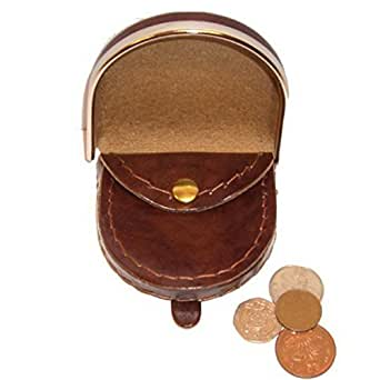 GENTS LEATHER METAL RIMMED COIN PURSE (1693) (BROWN)