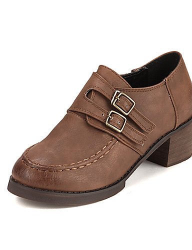 ZQ Scarpe Donna - Stringate - Tempo libero / Formale / Casual - Punta arrotondata - Quadrato - Finta pelle - Nero / Marrone , brown-us8 / eu39 / uk6 / cn39 , brown-us8 / eu39 / uk6 / cn39 black-us5.5 / eu36 / uk3.5 / cn35