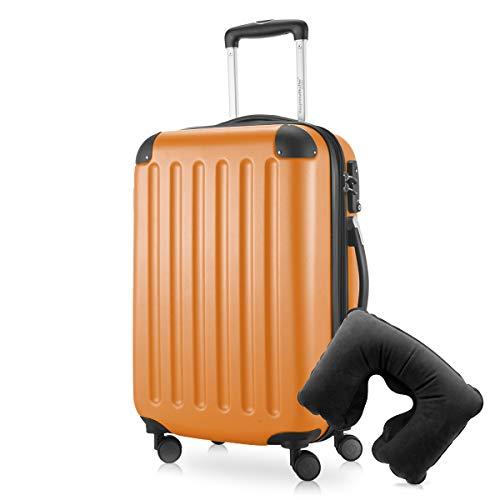 Hauptstadtkoffer - Spree Handgepäck Kabinentrolley Bordgepäck Hartschalen-Koffer, sehr leicht, TSA, 55 cm, 42L, Orange inkl. Reise Nackenkissen