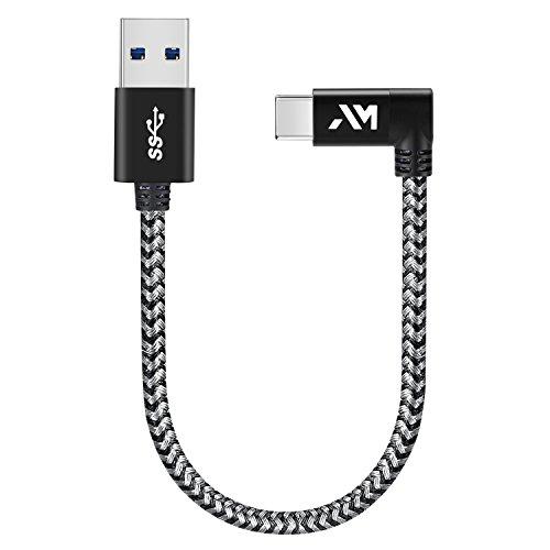Amazer Tec Typ c Kabel auf USB 3.0 Datenkabel 90 Grad Winkel Stecker 0.25m/0.8ft Nylon USB typ c Datenkabel für Samsung GalaxyS9/ S8 /Note 8, Huawei Mate 9 Pro P10 P9 Plus - Space Grau -