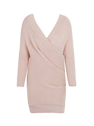 Rosa Kleid Mantel Jacke (Simplee Apparel Damen Winter Kleid Elegant Langarm Kreuz V-Ausschnitt Schulterfrei Bodycon Strickkleid Nude)